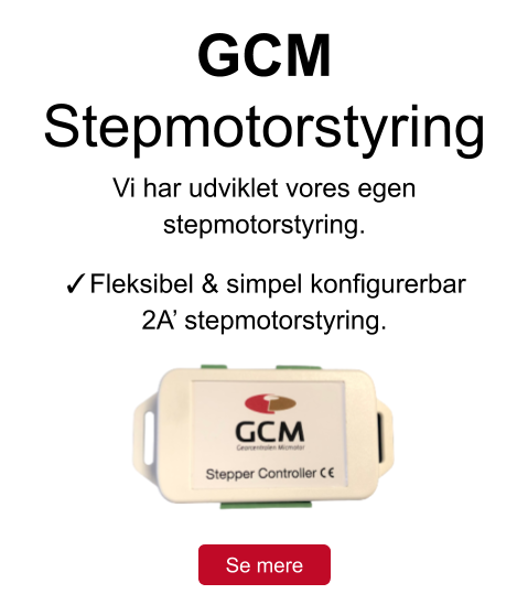 GCM Stepmotorstyring pop up